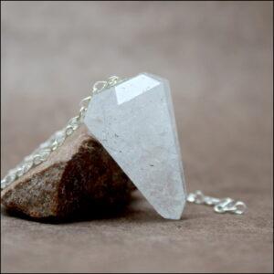 Pendule cristal de roche tourmaline