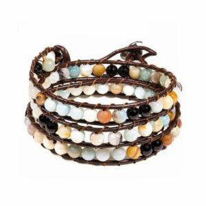 Bracelet amazonite agate noire