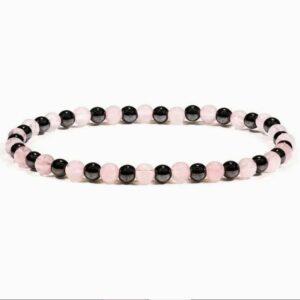 Bracelet hématite quartz rose
