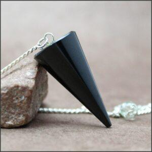 Pendule cône en obsidienne noire