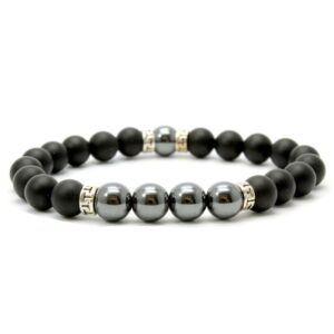 Bracelet hématite agate noire