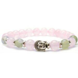 Bracelet quartz rose et jade